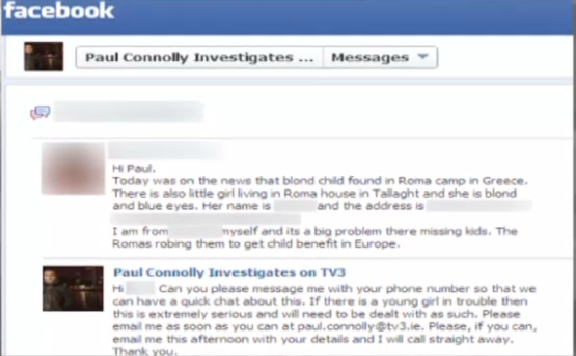 The Facebook message that led Gardai to remove the blonde